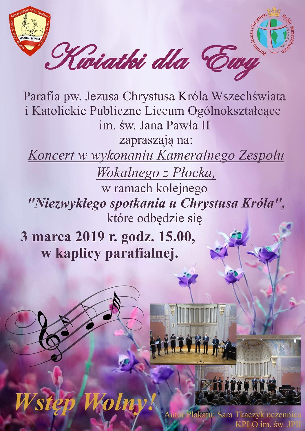 Koncert w kaplicy parafialnej na Sójczym 3 marca 2019 r.