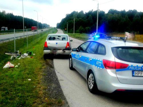 Groźny wypadek w miejscowości Podlas. Rowerzystka trafiła do szpitala