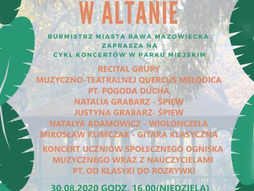 Koncert grupa Quercus Melodica w altanie – odwołany. 6.09 ma wystąpić Robert Skrzypek