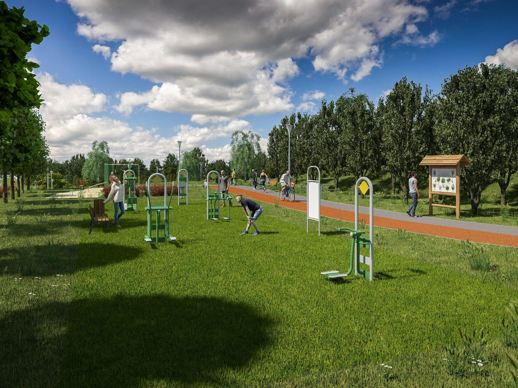 Wizualizacja otoczenia ścieżki pieszo-rowerowej w Rawie Mazowieckiej. Źródło: Urząd Miasta w Rawie Mazowieckiej